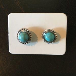 New Boho Chic Turquoise Circle Post Earrings